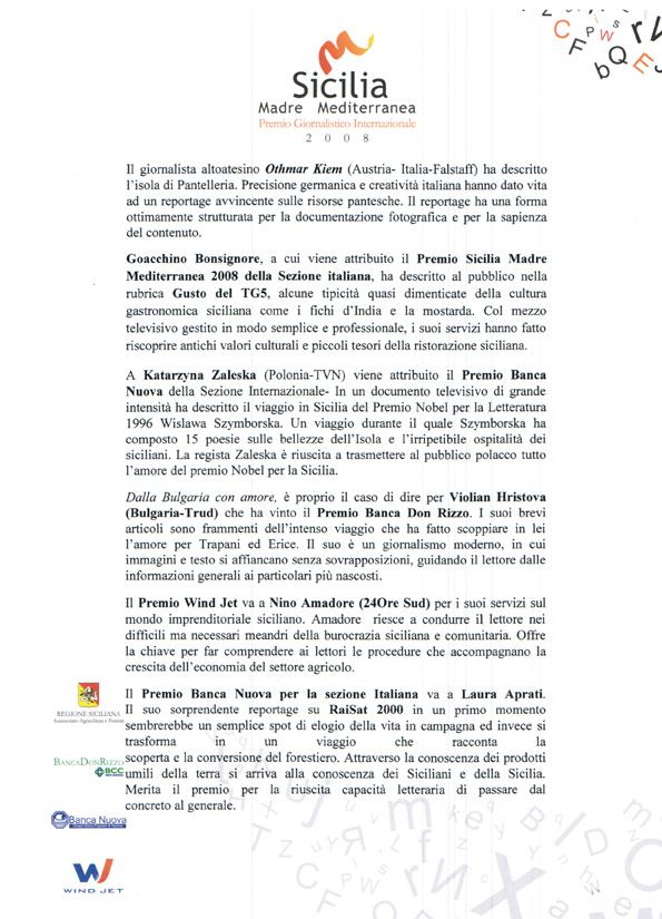 Premio Sicilia Madre Mediterranea